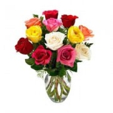 12 Mix Roses In Vase delivery to India