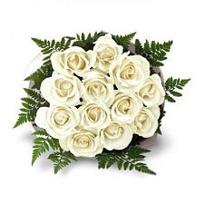 White Roses Bouquet 12 Flowers delivery to India