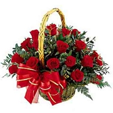 15 Red Roses Basket delivery to India