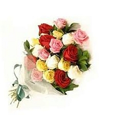 18 Mix Roses Hand Bouquet delivery to India