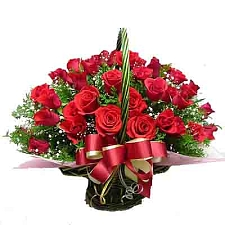 24 Red Roses Basket delivery to India