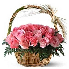 Pink Roses Basket 24 Flowers delivery to India