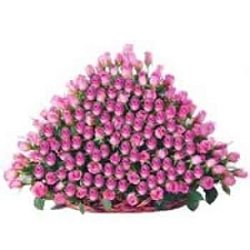 Pink Roses Basket 250 Flowers delivery to India