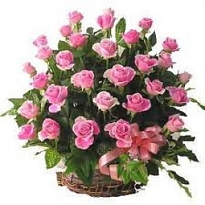 Pink Roses Basket 50 Flowers delivery to India