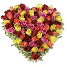 50 Mix Roses Heart delivery to India