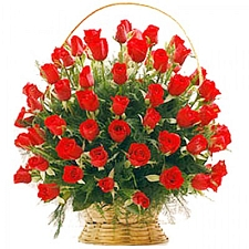 50 Red Roses Basket delivery to India