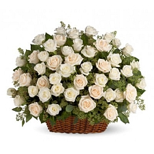 White Roses Basket 50 Flowers delivery to India