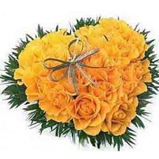 Yellow Roses Heart 50 Flowers delivery to India