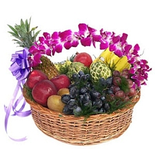 2kg Fresh Fruits Basket With Orchids delivery to India