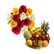 3 Kg Fresh Fruits Basket with 15 Mix Roses delivery to India