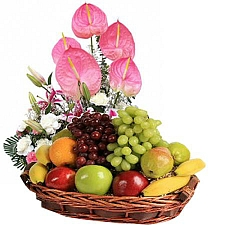 4kg Mix Fruits Basket With Flowers delivery to India
