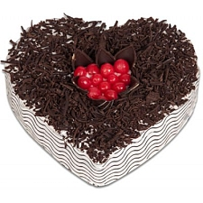 1 Kg Heart Shape Black Forest Cake delivery to India