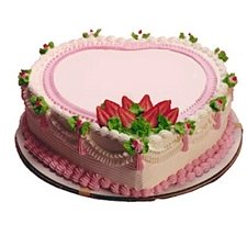 1 Kg Heart Shape Strawberry Cake delivery to India