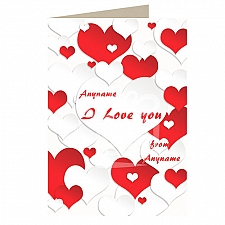 I Love You-Red and White Hearts -Personalised Card