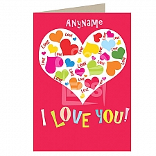 Love-Hearts in Heart-Personalised Card