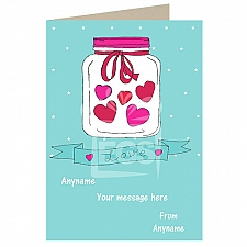 Love-Hearts in Jar-Personalised Card