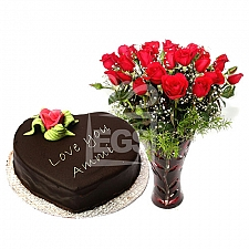 2lbs Mothers Day Cake from Pearl Continental Hotel with Red Roses delivery to Pakistan