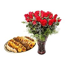 Cookies from Pearl Continental Hotel with Long Stemmed Red Roses delivery to Pakistan