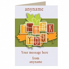Thank You-Leaves - Personalised Card