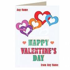 Valentines Day-Multicolor Hearts-Personalised Card