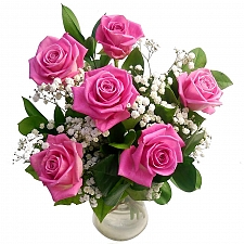 6 Pink Roses Bouquet delivery UK