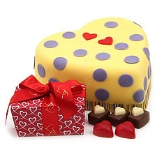 Hearts and Dots Cake Gift