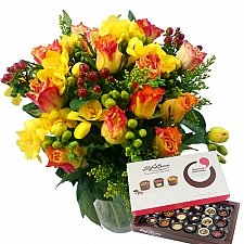 Rose and Freesia with Chocolates Delivery UK