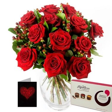Twelve Red Roses Gift Set Delivery to UK