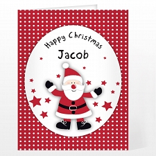 Personalised Spotty Santa Card