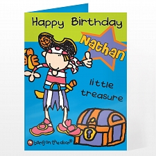 Personalised Bang On The Door Little Treasure Card