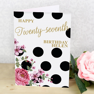 Personalised Floral Dot Card delivery to UK [United Kingdom]
