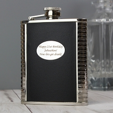 Steel and Black Leather Hip Flask