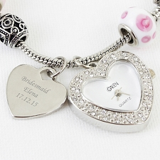 Personalised Pink Watch Charm Bracelet 18cm delivery to UK [United Kingdom]