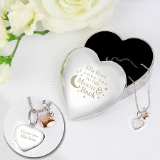 Personalised Engraved Moon and Back Heart Trinket Box & Silver Heart Pendant Gift Set delivery to UK [United Kingdom]