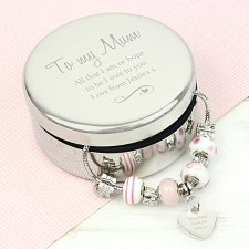 Personalised Swirls & Hearts Round Trinket Box & Candy Pink Heart Charm Braceletdelivery to UK [United Kingdom]