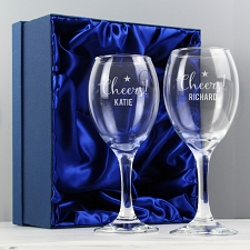 Personalised Cheers Wine Glass Set delivery to UK [United Kingdom]