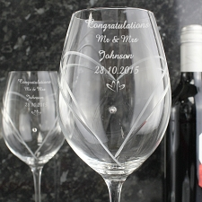 Personalised Hand Cut Little Hearts Diamante Wine Glasses delivery to UK [United Kingdom]