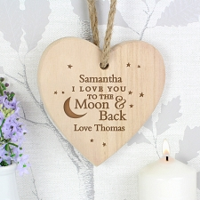 Personalised To Moon and Back Chunky Wooden Heart Decoration UK [United Kingdom]