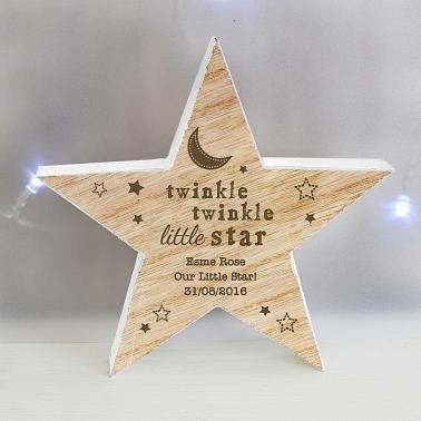 Personalised Twinkle Twinkle Rustic Wooden Star Decoration