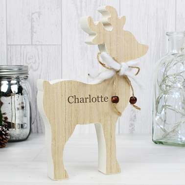 Personalised Any Name Rustic Wooden Reindeer Decoration