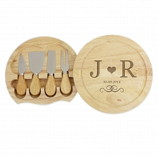 Monogram Large Chopping Board with Cheese Knives