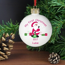 Personalised Santa with Presents Bauble