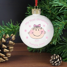 Personalised Baby Girl My First Christmas Bauble
