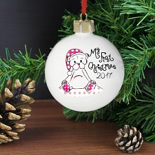 Personalised Cute Teddy My 1st Xmas Bauble