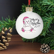 Personalised Cute Teddy Merry Xmas Bauble
