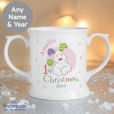 Personalised The Snowman Christmas Pink Mug