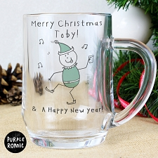 Personalised Purple Ronnie Christmas Elf Tankard