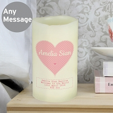 Personalised Stitch and Dot Baby Girl Nightlight LED Candle delivery to UK [United Kingdom]