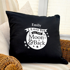 To the Moon and Back Black Cushion Cover