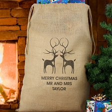 Personalised Reindeer Couple Hessian Sack